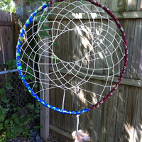 Large Dream Catcher Home Decor Maroon and Blue