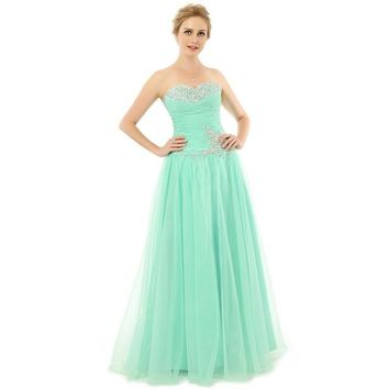 Off Shoulder Green Tulle Long Prom Formal Dresses A Line Floor Length