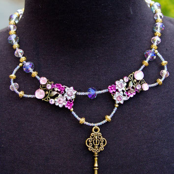 Fantasy Rapunzel Key Floral Necklace in Pink and Purple Tangled  Inspired Adult