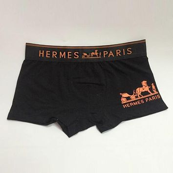 Hermes Popular Men Print Cotton Underwear(6-Color) Black