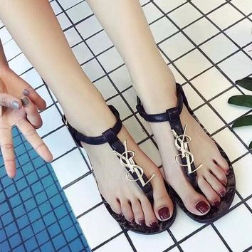 YSL New fashion flip flops women flat shoes sandals black