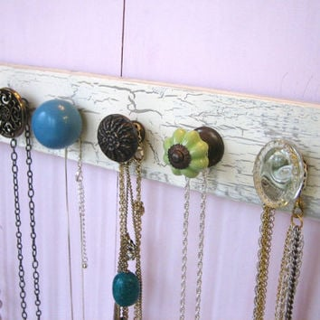 Necklace Holder with Blue and Green Knobs by AuntDedesBasement