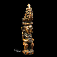 "Nias Royal Figure Carved From Bone 3""Ancestor Figure Protection Amulet Charm Small Figure Collectible Artifact Asian Culture"