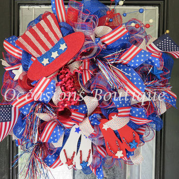 Memorial Day Wreath, July 4th Wreath, Door Hanger, Patriotic wreaths, Red white and blue, Door Swag