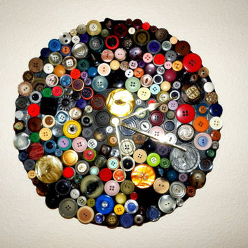 Modern Wall Clock,  Home and Living, Decor and Housewares,  Unique Clock, Clocks, Vintage Buttons,  Up Cycled Art, Unique Gift, TAGT