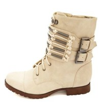 Belted Cuff Combat Boots by Charlotte Russe - Stone
