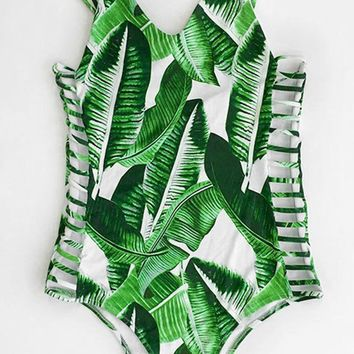 Cupshe Banana Leaves Print One-piece Swimsuit