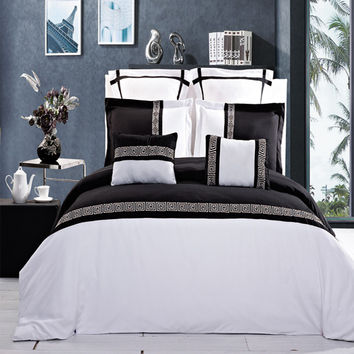 Astrid Embroidered Black and White Multi Piece Comforter Set