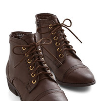ModCloth Menswear Inspired Charm Beyond Compare Bootie in Brown