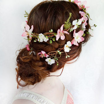 floral crown, rustic wedding flower crown, woodland bridal headpiece, pink floral hair accessories - FOLKLORE - flower hair wreath headpiece