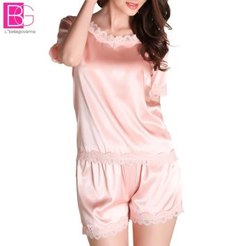 Women's Pajamas Sets 2017 Summer Lace Silk Blend Satin Nightwear Comfy  Elegent Pretty Nighties Artificial Silk Sleepwear Sets