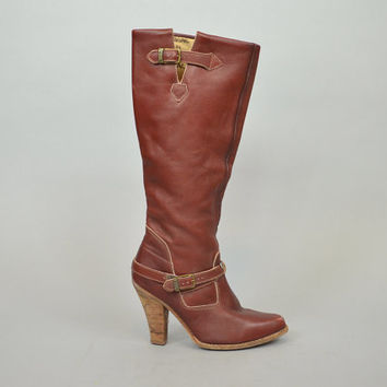 KNEE HIGH vintage 1970s western campus leather ZODIAC boots w/ stacked wooden heels, size 8 38.5 5.5