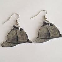 Sherlock Deerstalker Hat Earrings by jennyparksillus on Etsy