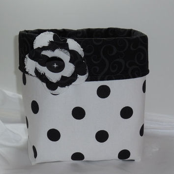 New, Large Black and White Polka Dot Fabric Basket With Detachable Flower Pin