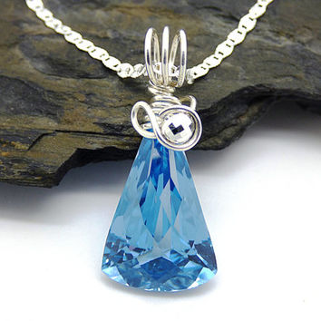 Genuine Blue Topaz Necklace, Checkerboard Cut Blue Topaz Pendant, Sterling Silver, Wire Wrapped Topaz Gemstone Jewelry