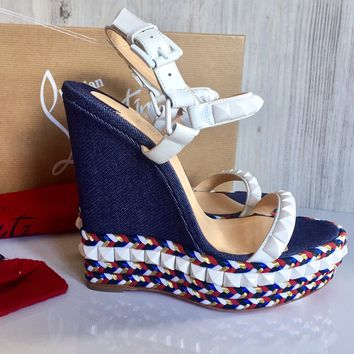 Christian Louboutin studded Cataclou Espadrille Wedge Sandal 35 $895 Free Ship