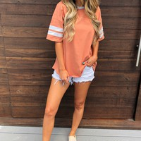 Varsity Babe Tee: Dusty Orange/Beige