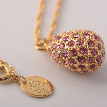 Gold  Egg Pendant Necklace Faberge Styled Handmade by Keren Kopal Enamel Painted Decorated with Pink Swarovski Crystals