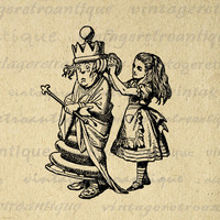 Alice in Wonderland Alice Dresses the Queen Digital Image Printable Download Graphic Artwork Antique Clip Art HQ 300dpi No.1834