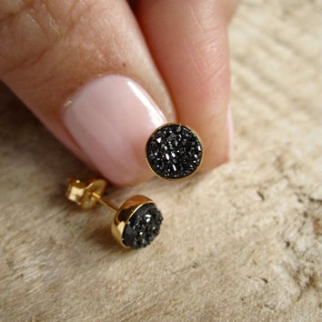Tiny Black Druzy Earrings Drusy Quartz Studs by julianneblumlo