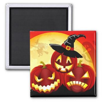 SCARY PUMPKINS HALLOWEEN SQUARE MAGNET