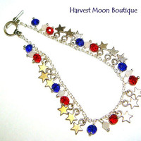 4th of July Bracelet Patriotic Artisan Jewelry Patriot Independence Day Red White Blue Star Jewelry Charm Bracelet American Summer Accessory