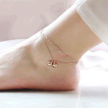 Minimalist style double-fringed bell anklets rose gold rose gold titanium steel female Mosaic gold gift