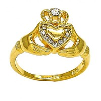 Gold Layered Mult-stone Ring, Heart and Crown Design, with Crystal, Gold Tone