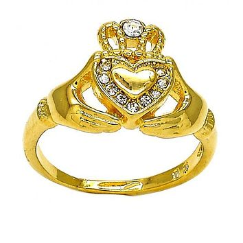 Gold Layered Multi Stone Ring, Heart and Crown Design, with Crystal, Golden Tone