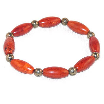 Stretchy Bracelet, Magnesite, Rice Shaped Beads, Red, Pyrite, Fools Gold,Jewellery Elastic, TEMPTTeam, epsteam, etsyEUR, UK