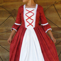 Historical Handmade Modest American Colonial Pioneer Girl -Red Ball Gown- Child Sizes up to 14