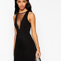 ASOS Mesh Panel Fringe Mini Bodycon Dress