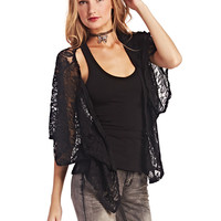 Midnight Floral Lace Kimono | Wet Seal