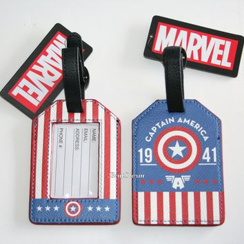 Licensed cool Marvel Avengers Captain America Shield Luggage Tag Backpack Bag ID Loungefly NEW