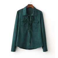 Green Lace Up Neck Velvet Blouse With Pocket