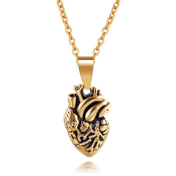 316L Stainless Steel human heart Pendant fine jewelry punk Pendant Necklace for lovers