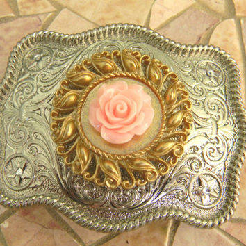 Silver Pink Rose Belt Buckle, Gold Belt, Western Womens Country Rose Buckle, Flower Belt, Girls Belt Buckle, Cowgirl Rockabilly Rose Belt