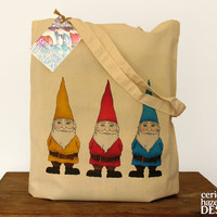 Three Garden Gnomes Illustration Eco Cotton Tote Bag