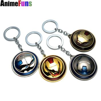 Marvel Super Hero The Avengers Iron Man Mask Keychain Rotatable Round 4 Colors Key Chain For Fans Boyfriend Dropshipping