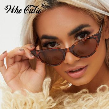 WHO CUTIE 2019 EXTREME Cat Eye Sunglasses Women Brand Designer Vintage Cateye Frame Narrow Retro Lady Sun Glasses Shades 599B