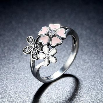 925 Sterling Silver Pink Flower Ring