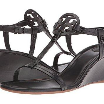 Tory Burch Miller 60MM Wedge Sandal - Nappa Leather - Black (9)