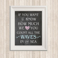 Chalkboard Nautical Nursery Print - Sign- Decor- Printable in gray, pink and blue