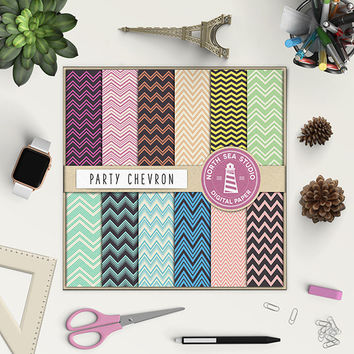 Chevron Digital Paper Blue Mint Pink Aqua Purple Chevron ZigZag Pattern Waves Chevron Background Scrapbooking Kit Nautical Pattern 12x12 In