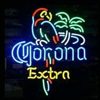 HOZER® Professional 17*14 CORONA EXTRA PARROT Design Decorate Neon Light Sign Store Display Beer Bar Sign Real Neon Signboard for Restaurant Convenience Store Bar Billiards Shops