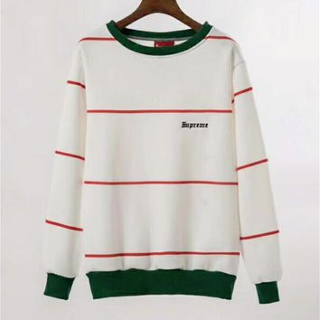 Supreme Fashion Women Men Casual Stripe Print Round Collar Embroidery Top Sweater White I-A-HRWM