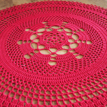 Doily |Table Linen |Red Centerpiece / Home Decor / Placemat / Wedding Centerpiece / Red  / Victorian / Doilies
