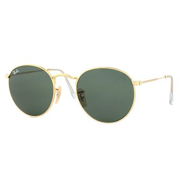 Ray-Ban Gold Round Metal Sunglasses RB 3447 001 50mm + SD Glasses + Cleaning Kit