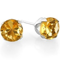 1.50 Carat (ctw) 6 mm Real Natural Genuine Round Shape Yellow Citrine 925 Sterling Silver Studs Earrings