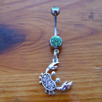 Belly button ring  rhinestone crab by ChelseaJewels on Etsy